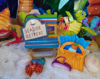 We Are Going To The Beach, Miniature, Dollhouse, Fairy Garden, Beach Chair, Beach Bag, Seaside Retreat Sign, Crab, Scuba Mask, Flippers,