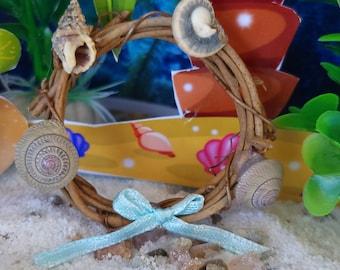 Time To Decorate With A Beach Seaside Wreath, Miniature, Fairy Garden, Dollhouse, Shells, Blue Ribbons, Beige, Mermaid Garden, Beach Seae
