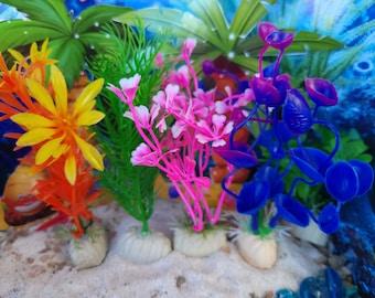 Mermaid Fairy Garden Plants, Miniature, Fairy Garden, Dollhouse, Purple, Green, Palm Tree, Blue, Pink, Orange, Beach Plants, Mermaid, Cute