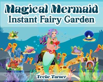 Mermaid Instant Fairy Garden, Digital Download, Instant Fairy Garden, Magical Fairy Garden, DIY, Crafts, Birthday, Beach Garden, Fish, Shell