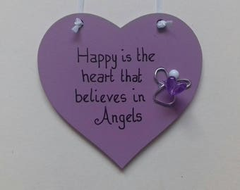 "Purple ""Happy is the heart that believes in Angels"" hanging plaque"