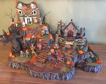 custom halloween village display platform lemax department 56 spookytown - Lemax Christmas Village