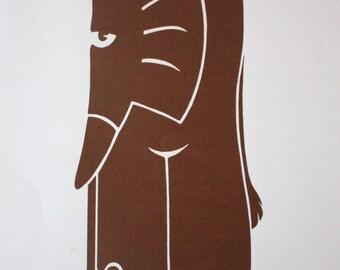 Elephant Stencil Brown  A4