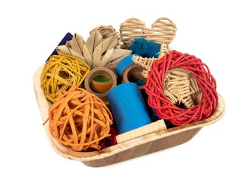 Tiny Treasures II - Basket of Small Animal Chew Toys, Loved by Hamsters, Mouse, Gerbils, Rats and Guinea Pigs, Great Gift Basket