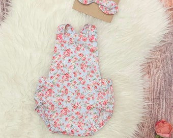 9c40bb3a3bd0b summer ROMPER - BABY outfit - GIRLS romper - floral baby romper - new baby  clothes - spring floral outfit - girl summer sets- toddler clothi