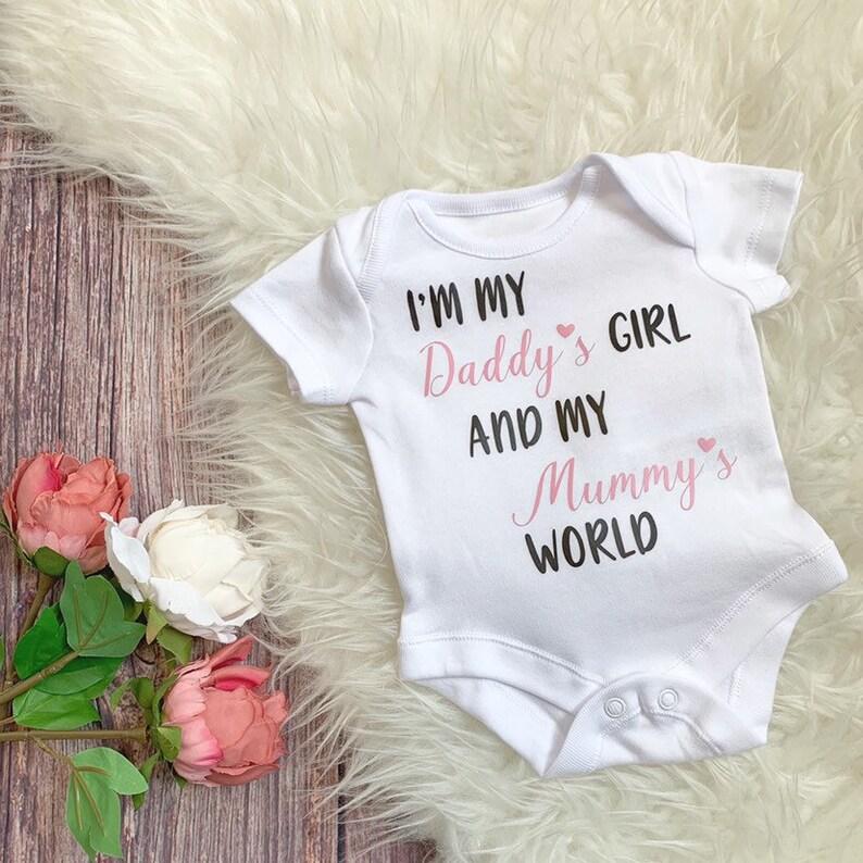 I am My Daddys Baby Girl Mummys Princess Baby Vests for Girls Bodysuit Gift