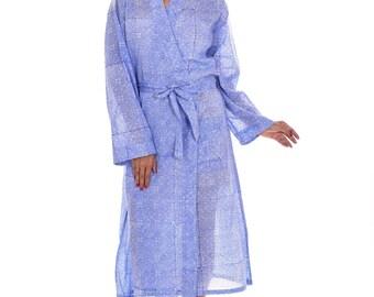 Indian Cotton Floral Print Women Long Kimono Dressing Gown Etsy