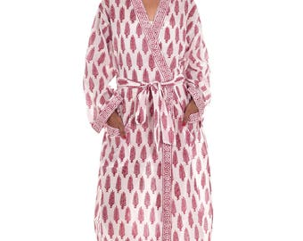 Indian Cotton Blue Paisley Printed Long Kimono Dressing Gown Etsy