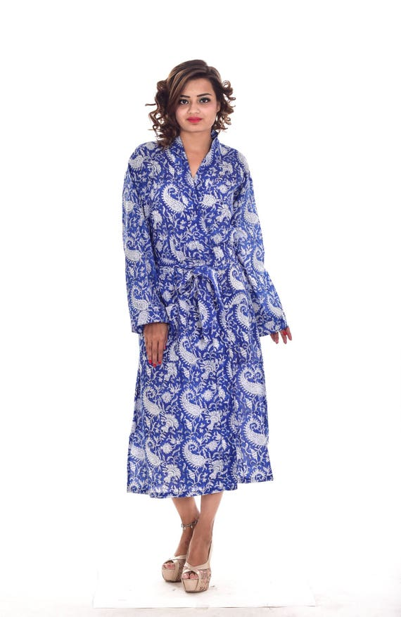 Indian Cotton Blue paisley Printed Long Kimono Dressing Gown