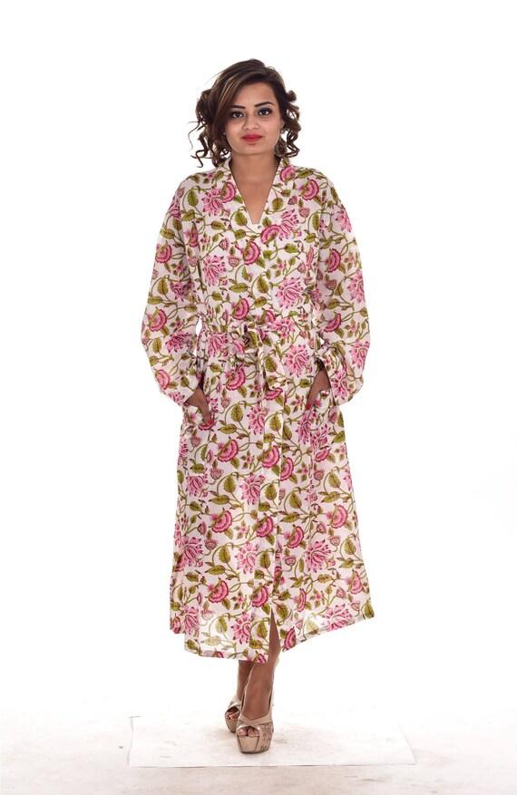 Multi Color Floral Print Cotton Long Kimono Women Dressing | Etsy