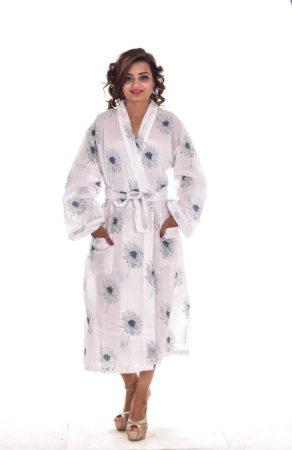 8cc430d46b Indian Cotton Floral Print Women Long Kimono Dressing Gown Beach Dress Bath  Robe