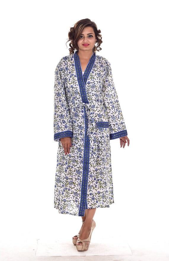 4d2e813724 Indian Floral Print Cotton Long Kimono Women Bathrobe Dressing Gown  Sleepwear Intimates