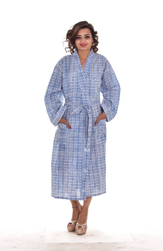 Indian Cotton Block Printed Long Kimono Dressing Gown Bathrobe Etsy