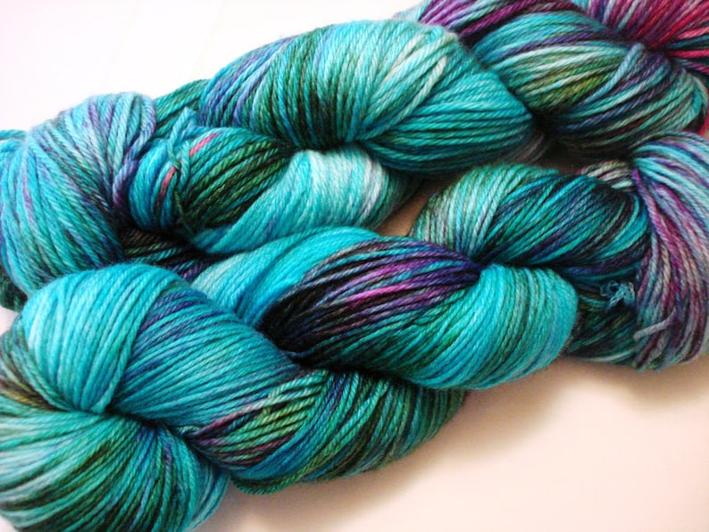 Variegated Colorway Speckled AG2N Hand Dyed Yarn A Guy Two Needles Caribbean Groove Sprinkles