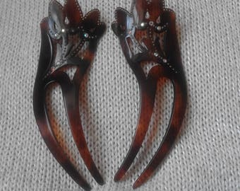Pair of old hairpins bakelite plant forms with golden ornaments and colored rhinestones