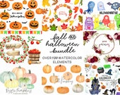 Fall Clipart Bundle - Rustic Pumpkins - Halloween clipart - pastel pumpkins ghosts witch - florals - fall clipart - instant - Commercial Use