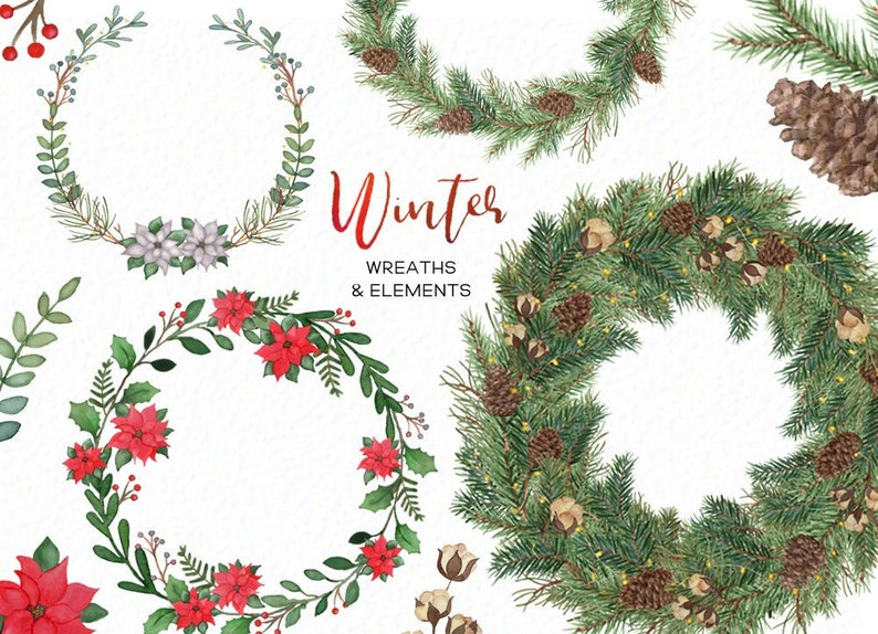 Christmas Wreath Clipart.Christmas Wreath Clipart Winter Wreath Clipart Christmas Clipart Holiday Clipart Holiday Wreaths Instant Download Commercial Use