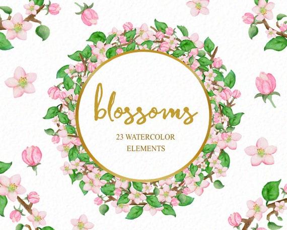 Apfelblüten Blumen Clipart Blume Clip Art Frühling Clip Etsy