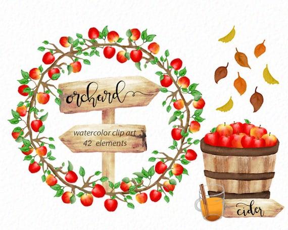 Apple Orchard clip art Watercolor apples fruit clipart | Etsy