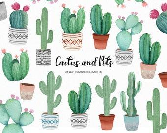 Watercolor cactus - succulent clipart - watercolor succulents  -cactii clipart boho rustic - pot clipart - instant download - Commercial use