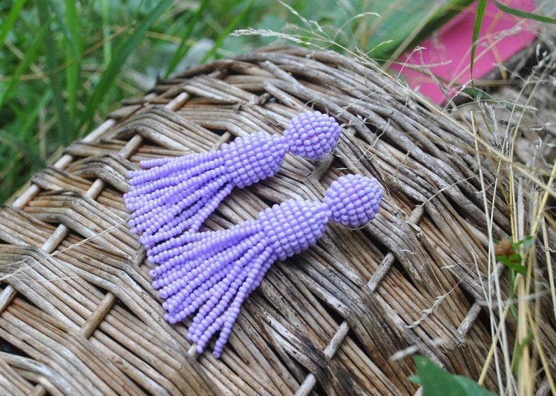 Oscar de la Rent\u0430 earrings,long beaded tassels,SILVER stud 925 beaded earrings,beaded tassel earrings Long lilac beaded tassel clips