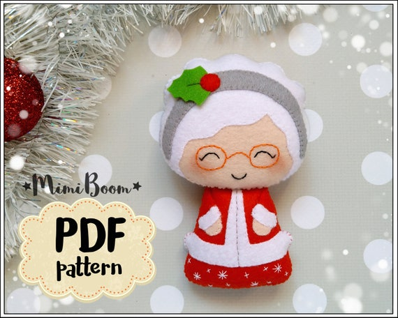 Mrs Claus Pattern Christmas Ornaments Felt Pattern Christmas Etsy