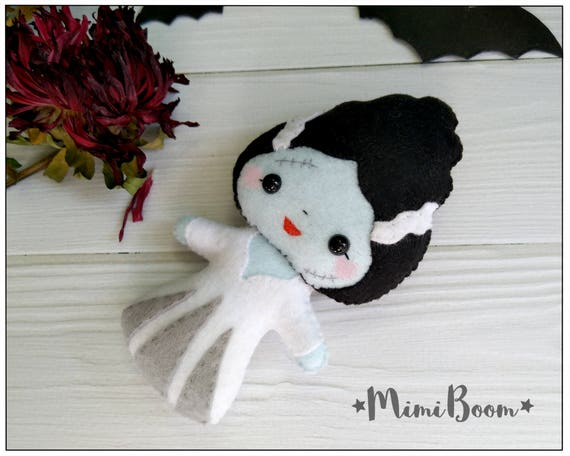 doll Halloween The Bride of Frankenstein PDF Pattern Instant Download Bride pattern felt Halloween Ornaments Toy Creepy Cute Doll