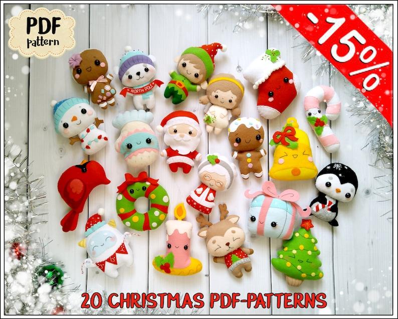 Noël Décorations Motif 20 Motifs De Noël En Feutrine Motif Etsy