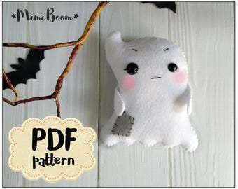 Halloween ghost pattern Halloween ornament tutorial Ghost Felt halloween pattern Ghost DIY ornament Halloween plushies Easy pattern Ghost
