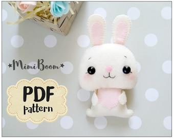 Bunny pattern felt Bunny PDF tutorial Plush sewing tutorial rabbit pattern felt DIY plushie sewing tutorial Rabbit felt ornament bunny
