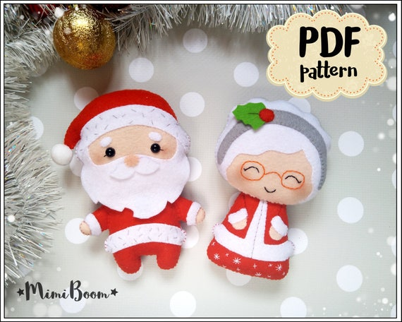 Christmas Pattern Felt Santa Claus And Mrs Claus Pattern Pdf Etsy