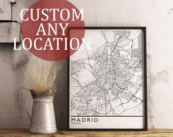 Custom Map Art. Any Location. Personalized Map. Minimal Design. City Map Art. Mounted Canvas Available