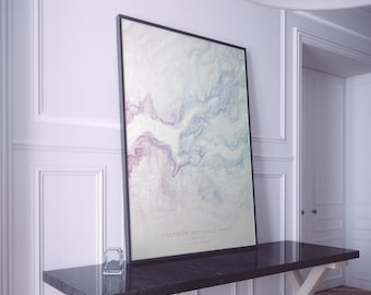Yosemite National Park Map Art. Half Dome Map Poster. Topo Gradient Design. City Map Art. Mounted Canvas Available.
