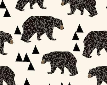 geo bear fabric - cream geo trendy hipster bear woodland kids nursery baby design