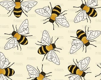 Busy Bees by Hazel_Fisher_Creations - Cotton/ Polyester/ Jersey/ Canvas/ Digital Printed