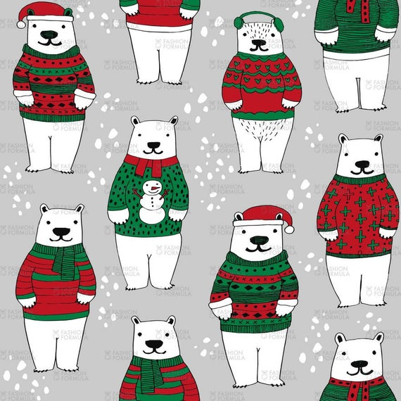 Printed Polyester Cotton Fabric Green Farther Christmas