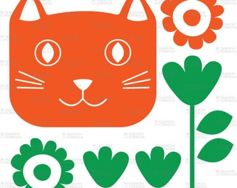 Happy Cat Fabric by RuthRobson