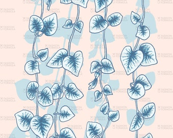String of Hearts in Blue and Nude Fabric by ThistleandFox - Cotton/ Polyester/ Jersey/ Canvas/ Digital Printed