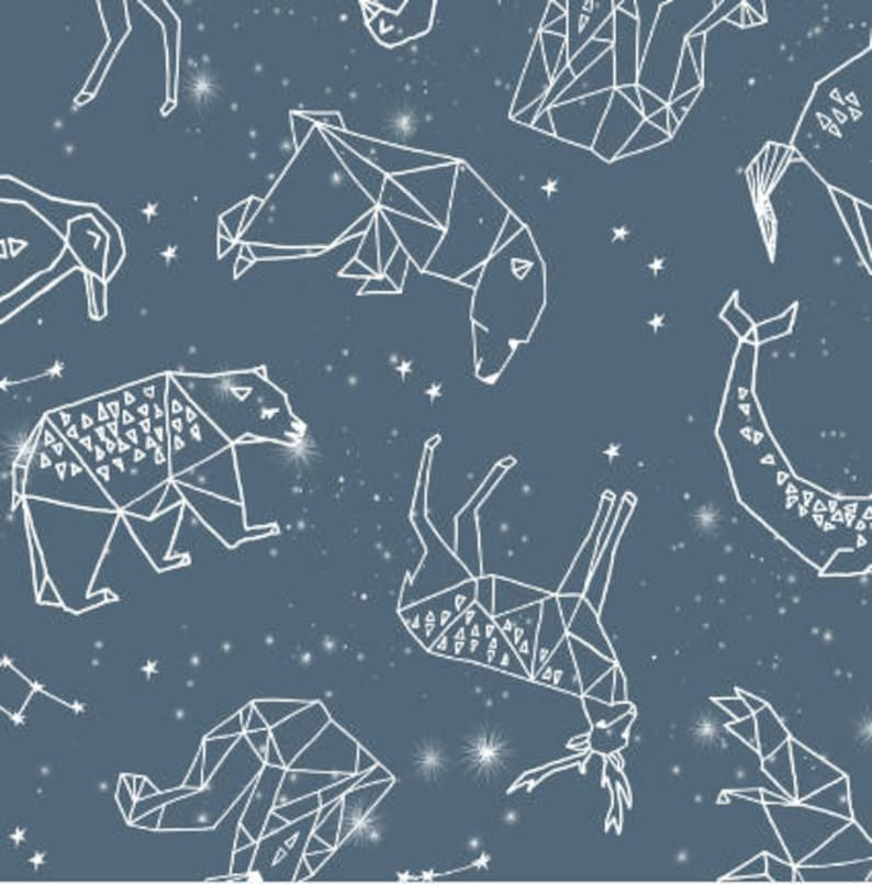 Constellations by Andrea Lauren animal geometric illustration blue sky nursery baby Cotton Polyester Jersey Canvas Digital Printed