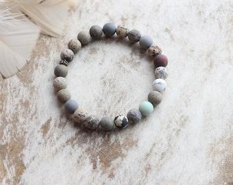 Bracelet made of semi-precious stones - man