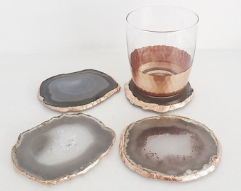 Agate Coaster in Natural Light Grey with Rose Gold / Copper Edge. Drink Coasters. Agate Slice. Agate Home Decor. Crystal Coasters. Boho.