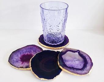 Agate Coaster in Purple with Gold Edge. Drink Coasters. Crystal Coasters. Boho Decor. Coffee Table Decor. Coaster Set. Agate Home Decor.