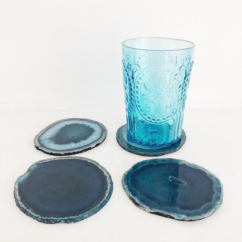 Agate Coaster Set Drink Coasters Geode Coasters Teal Agate Coaster Boho Decor Teal Coasters. Teal Home Decor Table Decor Agate Slice