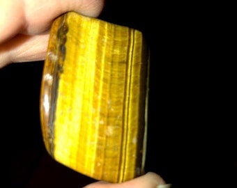 Golden Tiger Eye, M/L/XL, Tumbled;  Courage, Personal Power, Travel, Optimism, Good Luck, Creativity, Concentration