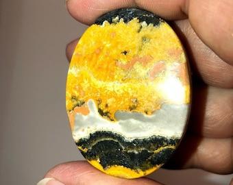 Bumble Bee Jasper, Pocket Palm Stone, Oval Cabochon, Eclipse, Stone, Fumarole Jasper; Joy, Self-Confidence, Creativity