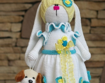 Tilda bunny Handmade doll Interior doll Amigurumi bunny Bunny rabbit Rabbit doll Crochet bunny Knit Rabbit Baby Doll Decorative Doll