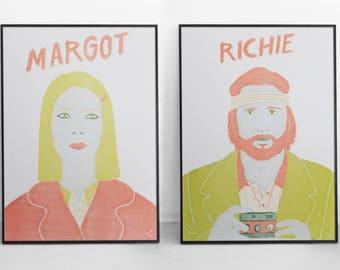 Richie & Margot Tenenbaum Risograph Prints