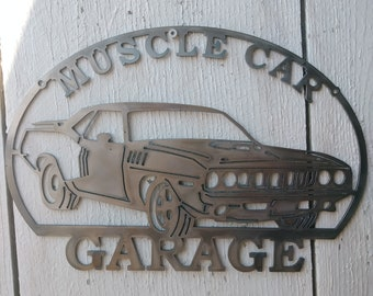 e09f61c9f27 Muscle Car Garage 1971 Man Cave Wall Art Metal Sign CNC Plasma Cut for Man  Cave Garage etc Hand Drawn