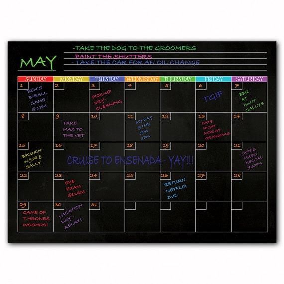 Magnetic Dry Erase Refrigerator Calendar In Black List Etsy