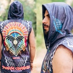 Sleeveless Hoodie DMT Explosion/ Psychedelic Unisex Wear Sacred Geometry Shirt Mens Burning Man Festival Clothing Party